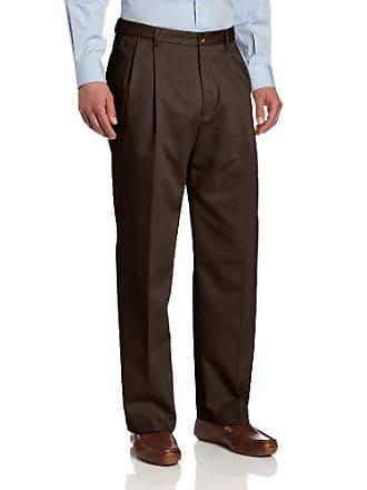 Haggar Mens Genuine Khaki Pleat Front Twill Casual Pant,Brown,34Wx29L