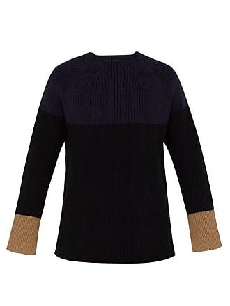 Joseph Colour Block Ribbed Wool Sweater - Mens - Navy Multi