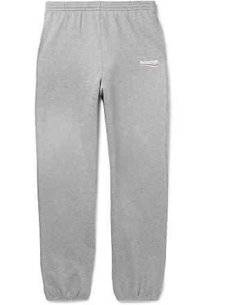 0f0a06224e7b27 Balenciaga Logo-print Mélange Loopback Cotton-jersey Sweatpants - Gray
