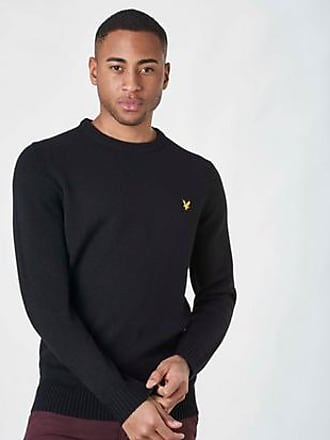 Lyle & Scott Stickad tröja Lambs Wool Blend Jumper Svart