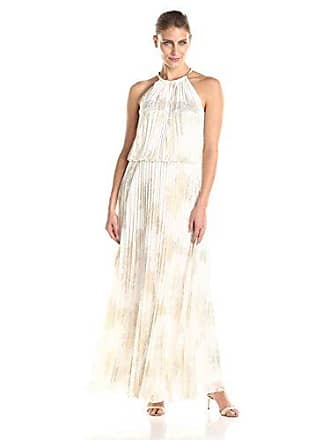 MSK Womens Gold Chain Halter Neck Maxi Woven Pleated Dress, Ivory, 16