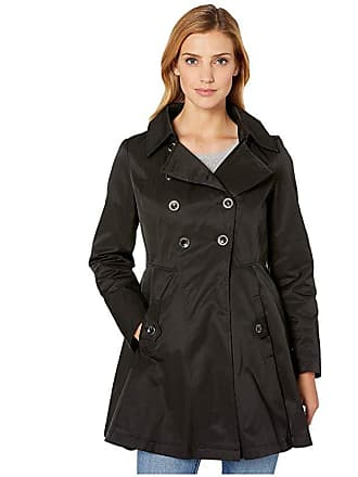 Via Spiga Double Breasted Hooded Fit and Flare w/ Hood (Black) Womens Coat