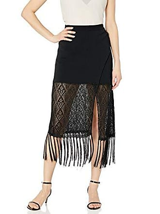Ramy Brook Womens Crochet Codey MIDI Skirt, Black, Medium