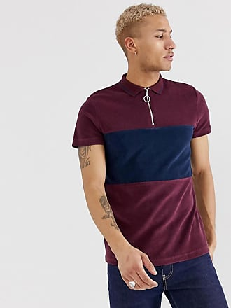 1984dd69fdc Asos polo shirt with zip neck and contrast panel in towelling
