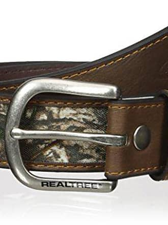 Real Tree Mens Double Stitched Leather Crazy Horse Reversible Belt