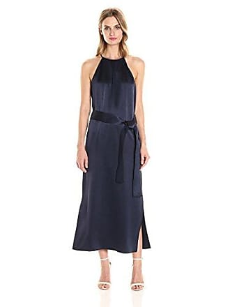 627fd623d001 Halston Heritage Womens Sleeveless Racer Back Satin Slip Dress with Sash,  Dark Navy M