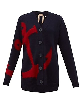 N°21 Anchor Intarsia Wool Cardigan - Womens - Navy Multi