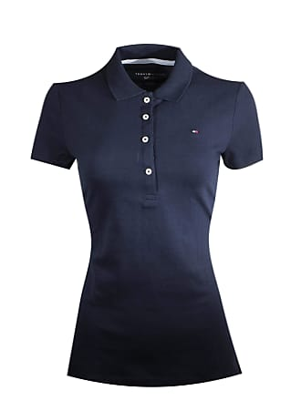 6816a215 Tommy Hilfiger Women Classic Fit Logo Polo T-Shirt (Small, Navy)