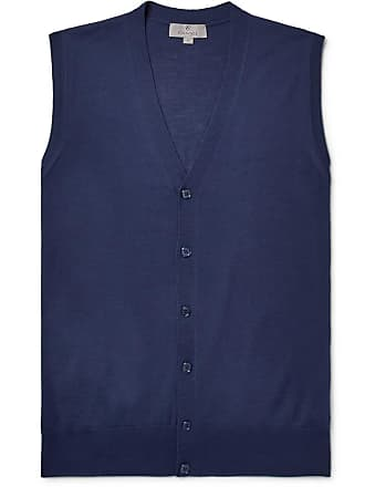 Canali Slim-fit Merino Wool Sweater Vest - Storm blue