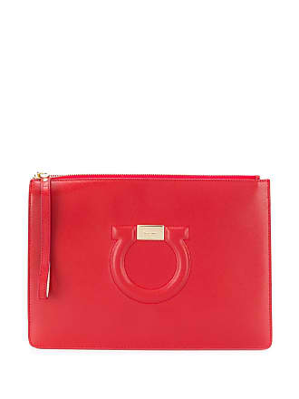 7601db6f3244 Salvatore Ferragamo gancio logo clutch bag - Red
