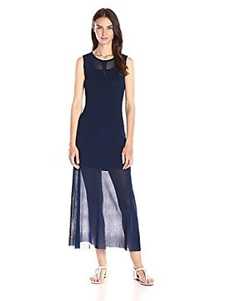 Only Hearts Womens Tulle with Lacing Long Henley Dress, Navy, Petite/Small