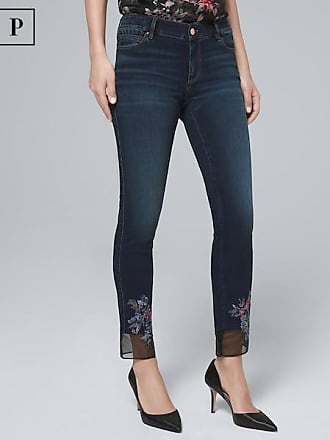 White House Black Market Womens Petite Classic-Rise Embroidered-Hem Straight Crop Jeans by White House Black Market, Dark Wash, Size 00