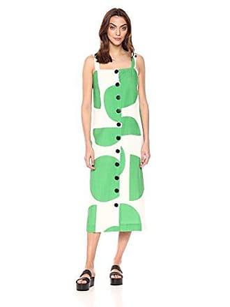 06845cb046d Mara Hoffman Womens Maureen Button Up Tank Midi Dress, Tondo White Green  Medium