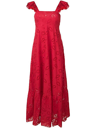 Liu Jo open embroidery square neck gown - Vermelho
