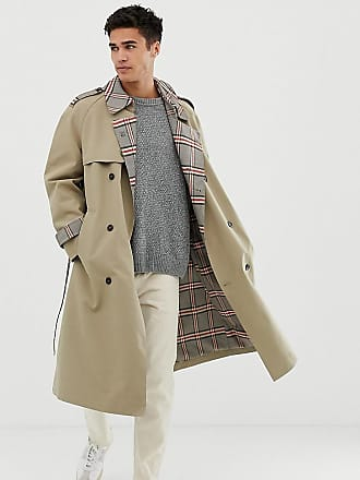 Noak check lined trench coat in stone - Stone