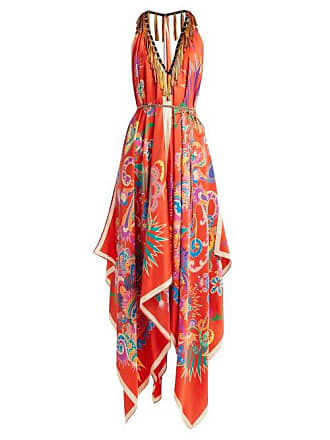 Etro Tasselled Halterneck Silk Midi Dress - Womens - Red