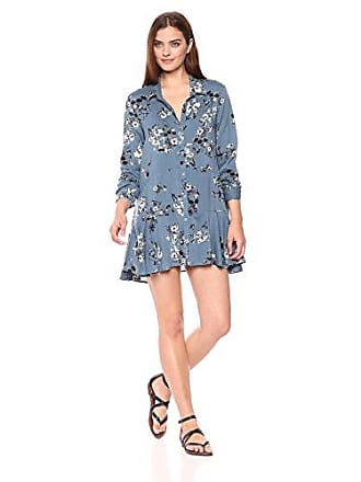 2a97765fcf Chelsea & Theodore Womens Long Sleeve Button Front Tunic with Peplum  Detail, Slate Blue Floral