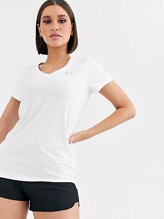 Under Armour T-shirt tecnica da allenamento bianca con scollo a V-Bianco