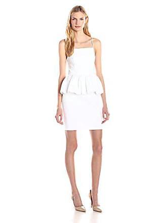 Tracy Reese Womens Stretch Cotton Peplum Dress Soft White 12