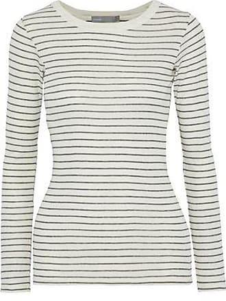 76e674db27 Vince Vince. Woman Striped Pima Cotton-jersey Top White Size L