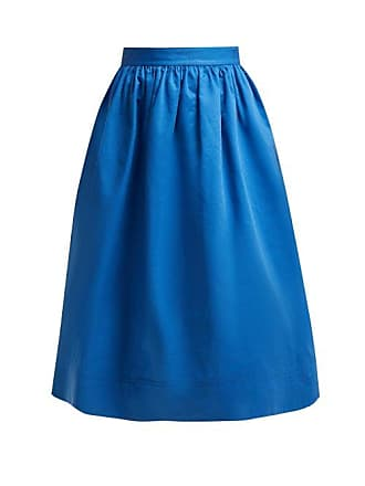 Marni High Rise Cotton Drill Midi Skirt - Womens - Blue