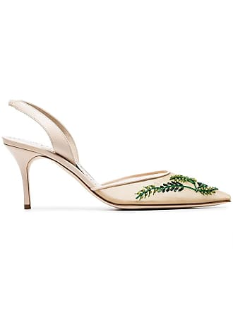 09361ae204a Manolo Blahnik cream and green nymphlyne 70 mesh embroidered pumps -  Neutrals