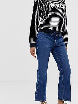 5ca4dc50b6cdb Asos Maternity ASOS DESIGN Maternity Egerton rigid cropped flare jeans in  dark vintage wash blue with