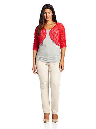 Star Vixen Womens Plus-Size Rouched Sleeve Bolero Sweater, Solid Red, 1X