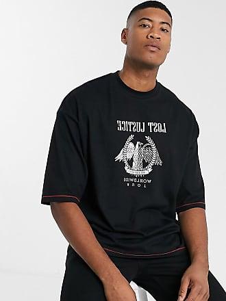 Asos Tall - Oversize-T-Shirt aus Bio-Baumwolle mit Kontrastnähten und Adler-Stickerei-Schwarz