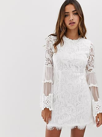 f43bd068cf5c Forever Unique lace mini dress with bell sleeves in white