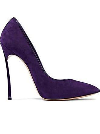3e93ca5965e Casadei Casadei Woman Patent Leather-trimmed Suede Pumps Dark Purple Size 36