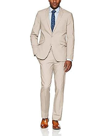 Kenneth Cole Reaction Mens Light Weight Cotton Suit w/Hemmed Pant, Stone, 38 Regular