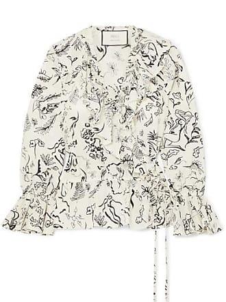 3a3e8a2adfb3cd Rixo + Laura Jackson Roisin Ruffled Printed Cotton-voile Wrap Top - Cream
