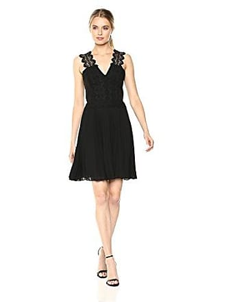 Adelyn Rae Womens Aviva Pleated Dress, Black, L