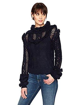 Glamorous Womens Ruffled Sweater, Navy, Small