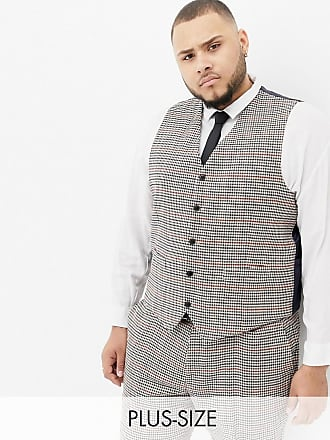 Gianni Feraud Plus slim fit heritage check wool blend suit vest - Brown