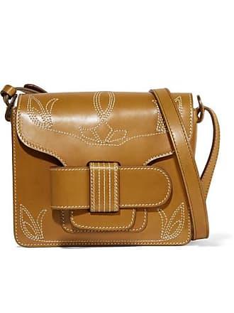 Trademark Greta Embroidered Leather Shoulder Bag - Tan