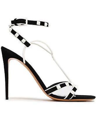 9e2f93e934b Valentino Valentino Garavani Woman Rockstud Leather And Suede Sandals Black  Size 39