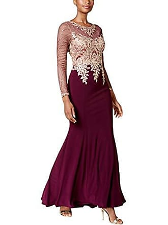 Xscape Womens Long Gown with Emb/Bead Top and Illusion Sleeves, Wine/Gold, 2