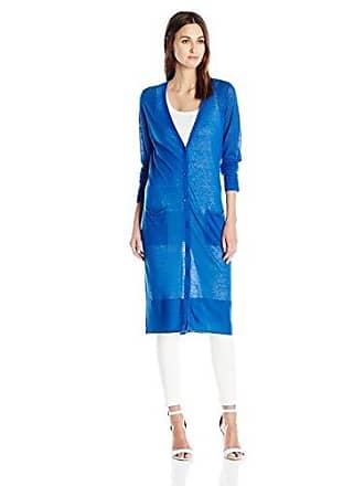 Joan Vass Womens Long Sheer Cardigan, French Blue, 2