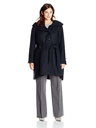 Steve Madden Womens Plus-Size Single Breasted Wool Coat, Navy, 1X