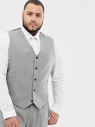 Asos Chaleco de traje ajustado en gris con pespuntes de ASOS DESIGN Plus  Wedding 4174b059b53