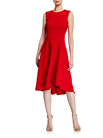 Iconic American Designer Sleeveless Fit-and-Flare High-Low Midi Dress