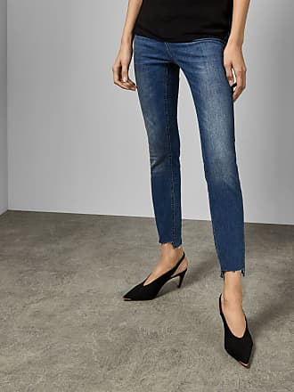 Ted Baker Uneven Raw Hem Skinny Jeans in Light Blue ORANAH, Womens Clothing