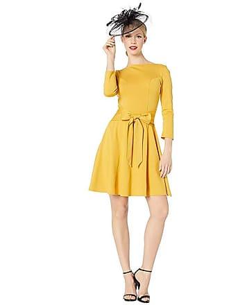 Unique Vintage Knit Tie Waist Bettie Fit Flare Dress (Mustard) Womens Dress