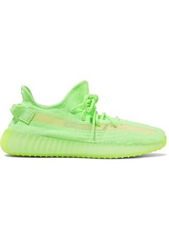 adidas Originals Yeezy Boost 350 V2 Glow-in-the-dark Primeknit And Mesh Sneakers - Bright green