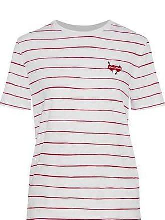 Zoe Karssen Zoe Karssen Woman Embroidered Striped Cotton And Linen-blend T-shirt White Size M
