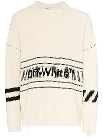 Off-white logo intarsia distressed cotton-blend jumper