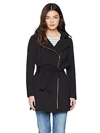Via Spiga Womens Petite Double Breasted Hooded Fit and Flare Lightweight Trench Coat, Black, Small