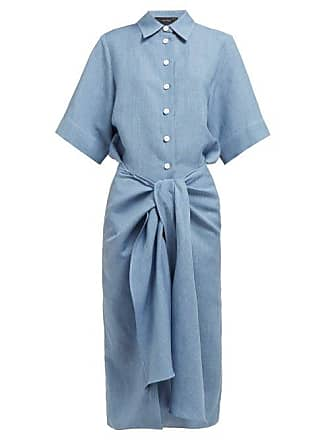 Joseph Coopers Tie Waist Linen Blend Dress - Womens - Blue